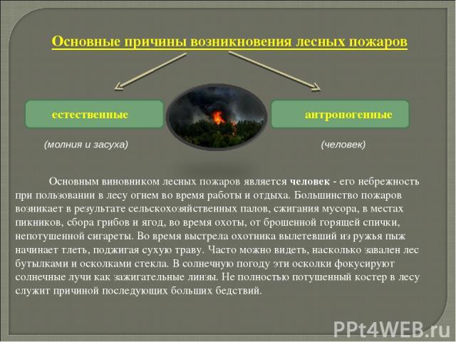 естественные антропогенные (человек) (молния и засуха)  Основным виновником лесных пожаров является человек - его небрежность при пользовании в лесу огнем во время работы и отдыха. Большинство пожаров возникает в результате сельскохозяйст…