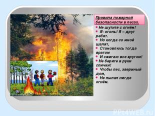 Правила пожарной безопасности в лесах. Не шутите с огнём! Я- огонь! Я – друг реб
