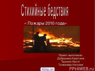 Проект выполнили: Добрынина Кристина Трухина Настя Толмачёва Наталия « Пожары 20