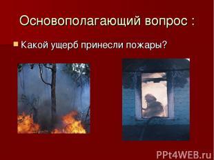 Основополагающий вопрос : Какой ущерб принесли пожары?