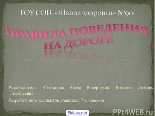 Руководитель: Степанова Елена Валерьевна, Бочкова Любовь Тимофеевна Разработчики