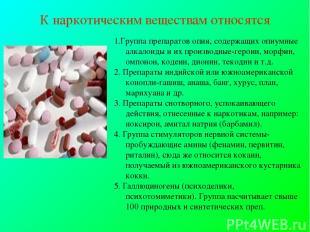 К наркотическим веществам относятся 1.Группа препаратов опия, содержащих опиумны