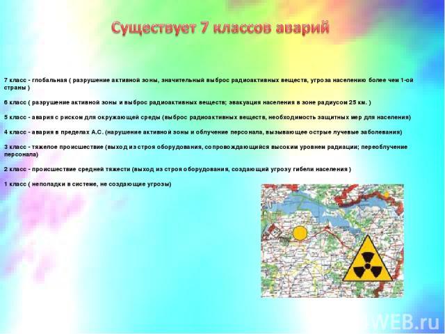 7 класс - глобальная ( разрушение активной зоны, значительный выброс радиоактивных веществ, угроза населению более чем 1-ой страны ) 6 класс ( разрушение активной зоны и выброс радиоактивных веществ; эвакуация населения в зоне радиусом 25 км. ) 5 кл…