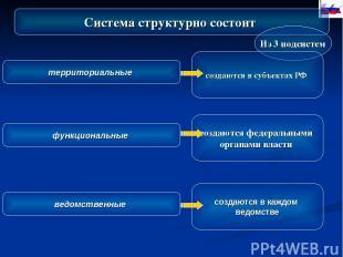 Система структурно состоит Из 3 подсистем территориальные функциональные ведомст