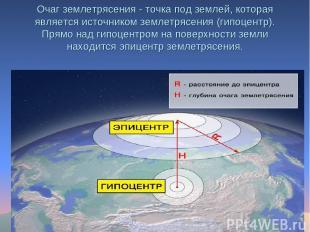 Очаг землетрясения - точка под землей, которая является источником землетрясения