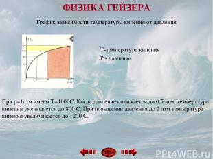 График зависимости температуры кипения от давления Т-температура кипения Р - дав