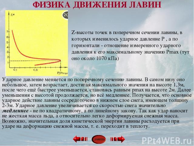 Z-высоты точек в поперечном сечении лавины, в которых изменилось ударное давление P , а по горизонтали - отношение измеренного ударного давления к его максимальному значению Pmax (тут оно около 1070 кПа) Ударное давление меняется по поперечному сече…