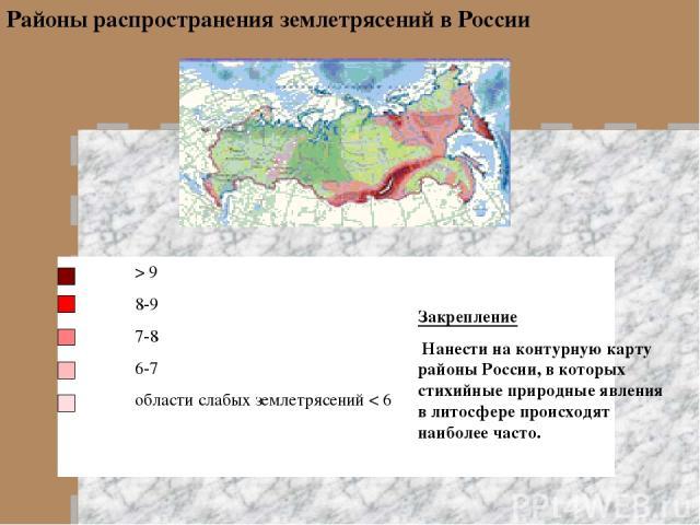 > 9 8-9 7-8 6-7 области слабых землетрясений < 6 Районы распространения землетрясений в России Закрепление Нанести на контурную карту районы России, в которых стихийные природные явления в литосфере происходят наиболее часто.