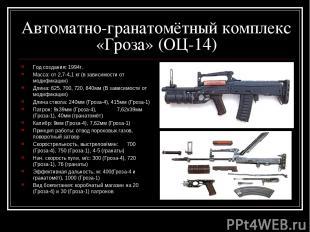 Автоматно-гранатомётный комплекс «Гроза» (ОЦ-14) Год создания: 1994г. Масса: от