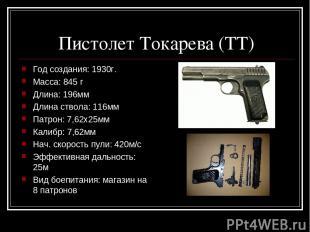Пистолет Токарева (ТТ) Год создания: 1930г. Масса: 845 г Длина: 196мм Длина ство