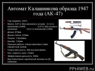 Автомат Калашникова образца 1947 года (АК-47) Год создания: 1947г. Масса: 3,87 к