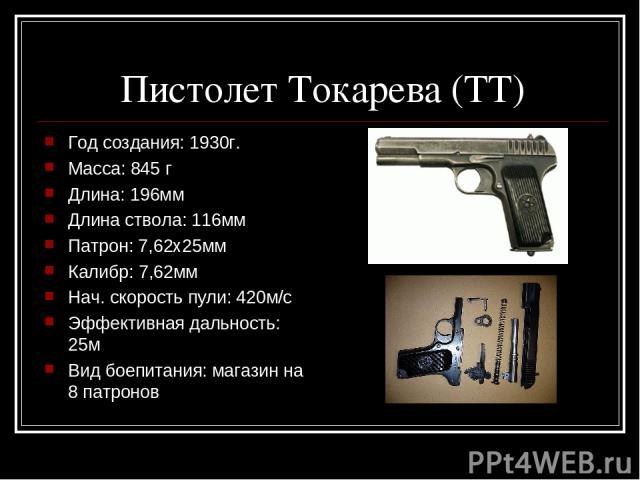 Пистолет Токарева (ТТ) Год создания: 1930г. Масса: 845 г Длина: 196мм Длина ствола: 116мм Патрон: 7,62х25мм Калибр: 7,62мм Нач. скорость пули: 420м/с Эффективная дальность: 25м Вид боепитания: магазин на 8 патронов