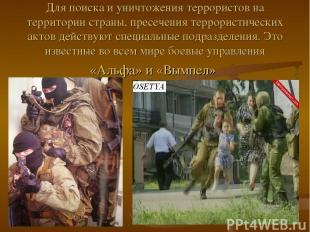 Для поиска и уничтожения террористов на территории страны, пресечения террористи