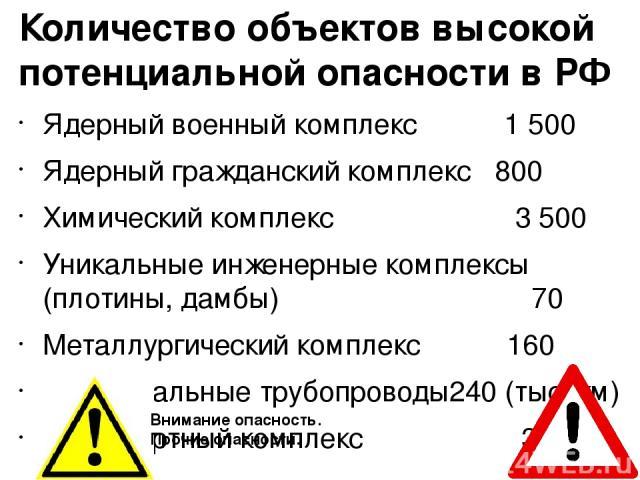 Количество объектов высокой потенциальной опасности в РФ Ядерный военный комплекс 1 500 Ядерный гражданский комплекс 800 Химический комплекс 3 500 Уникальные инженерные комплексы (плотины, дамбы) 70 Металлургический комплекс 160 Магистральные трубоп…