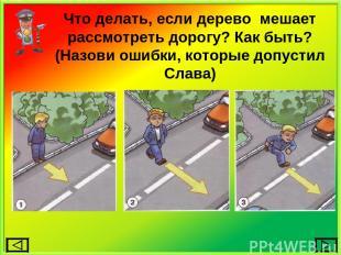 Что делать, если дерево мешает рассмотреть дорогу? Как быть? (Назови ошибки, кот