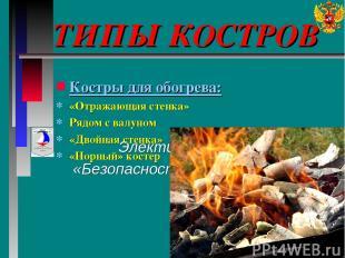 ТИПЫ КОСТРОВ Элективный курс «Безопасность и выживание» Костры для обогрева: «От