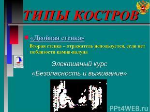 ТИПЫ КОСТРОВ Элективный курс «Безопасность и выживание» «Двойная стенка» Вторая