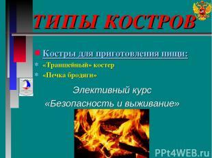 ТИПЫ КОСТРОВ Элективный курс «Безопасность и выживание» Костры для приготовления