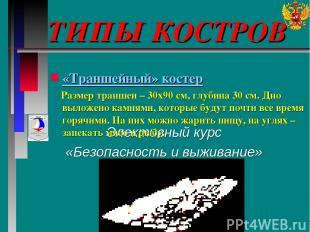ТИПЫ КОСТРОВ Элективный курс «Безопасность и выживание» «Траншейный» костер Разм