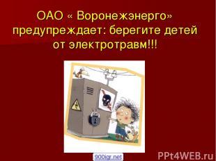 ОАО « Воронежэнерго» предупреждает: берегите детей от электротравм!!! 900igr.net