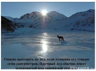 Опасно выходить на лёд, если толщина его тоньше семи сантиметров. Прочный лед об