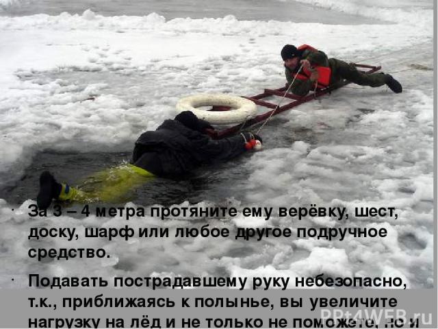 За 3 – 4 метра протяните ему верёвку, шест, доску, шарф или любое другое подручное средство. Подавать пострадавшему руку небезопасно, т.к., приближаясь к полынье, вы увеличите нагрузку на лёд и не только не поможете, но и сами рискуете провалиться.
