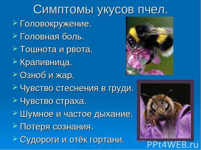 Симптомы укусов пчел. Головокружение. Головная боль. Тошнота и рвота. Крапивница. Озноб и жар. Чувство стеснения в груди. Чувство страха. Шумное и частое дыхание. Потеря сознания. Судороги и отёк гортани.