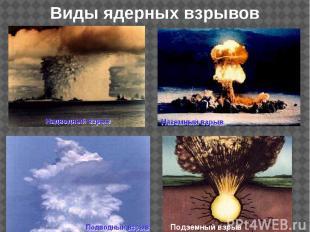 Виды ядерных взрывов Подземный взрыв