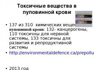 Токсичные вещества в пуповинной крови 137 из 310 химических веществ в пуповинной