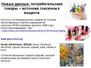 Новые данные: потребительские товары – источник токсичных веществ * 2012 год: 21