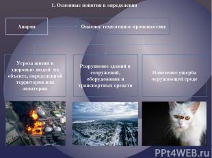 1. Основные понятия и определения Авария Опасное техногенное происшествие Угроза