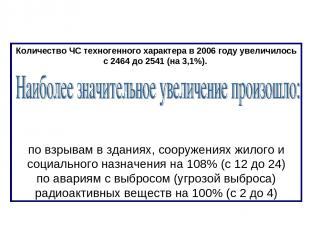 Количество ЧС техногенного характера в 2006 году увеличилось с 2464 до 2541 (на