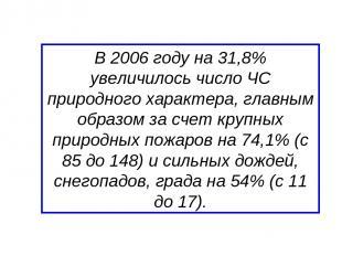 В 2006 году на 31,8% увеличилось число ЧС природного характера, главным образом