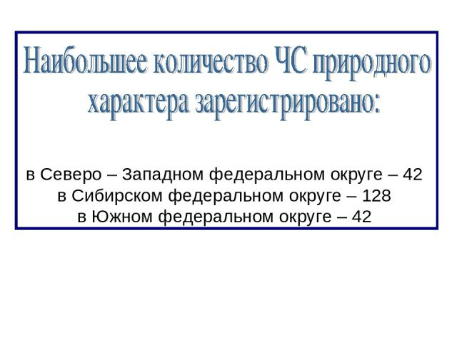 в Северо – Западном федеральном округе – 42 в Сибирском федеральном округе – 128 в Южном федеральном округе – 42