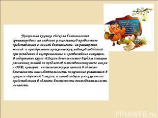 Программа кружка «Школа безопасности» ориентирована на создание у школьников пра
