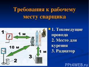 Требования к рабочему месту сварщика 1. Токоведущие провода 2. Место для курения