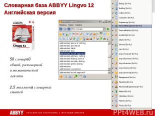Словарная база ABBYY Lingvo 12 Английская версия 50 словарей общей, разговорной