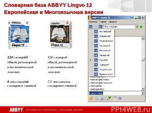 Словарная база ABBYY Lingvo 12 Европейская и Многоязычная версии 110 словарей об