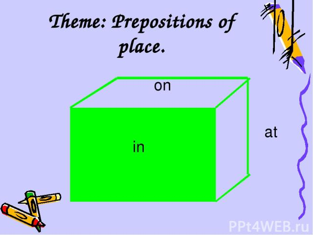 Theme: Prepositions of place. on in at