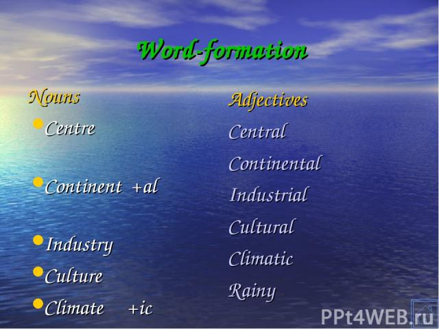 Word-formation Nouns Centre Continent +al Industry Culture Climate +ic Rain +y Adjectives Central Continental Industrial Cultural Climatic Rainy
