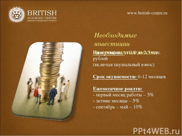 Необходимые инвестиции и срок окупаемости Инвестиции: от 0,8 до 2,5 млн. рублей (включая паушальный взнос) Срок окупаемости: 6-12 месяцев Ежемесячное роялти: - первый месяц работы – 5% - летние месяцы – 5% - сентябрь – май – 10% www.british-centre.ru