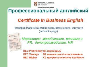 Профессиональный английский Certificate in Business English Проверка владения ан