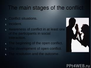 Conflict situations. Incident. Awareness of conflict in at least one of the part