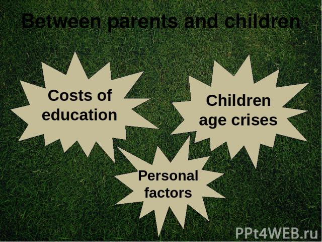 Between parents and children Costs of education Children age crises Personal factors