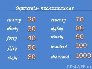 Numerals- числительные twenty thirty forty fifty sixty seventy eighty ninety hun