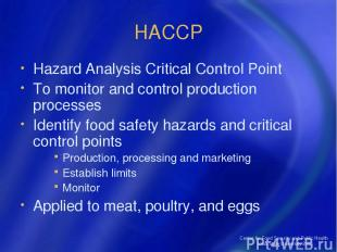 Center for Food Security and Public Health Iowa State University 2004 HACCP Haza