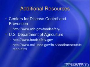 Center for Food Security and Public Health Iowa State University 2004 Additional
