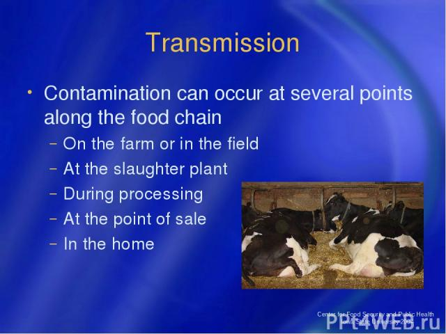 Center for Food Security and Public Health Iowa State University 2004 Transmission Contamination can occur at several points along the food chain On the farm or in the field At the slaughter plant During processing At the point of sale In the home C…