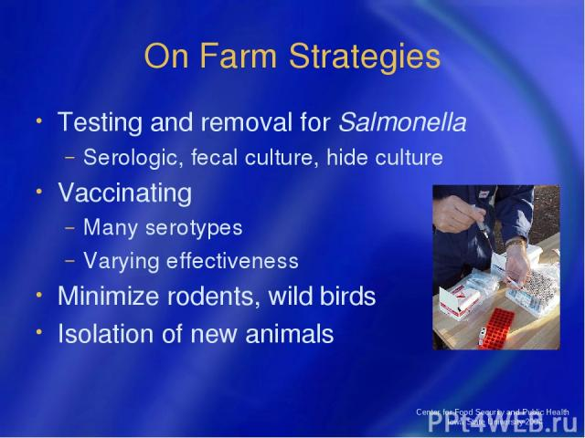 Center for Food Security and Public Health Iowa State University 2004 On Farm Strategies Testing and removal for Salmonella Serologic, fecal culture, hide culture Vaccinating Many serotypes Varying effectiveness Minimize rodents, wild birds Isolatio…