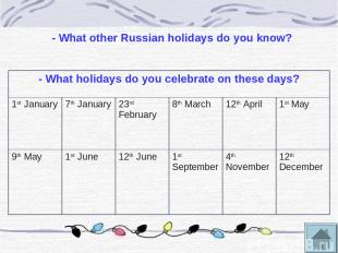 - What other Russian holidays do you know? - What holidays do you celebrate on t
